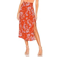 Free People Retro Love Midi Skirt Burnt Orange