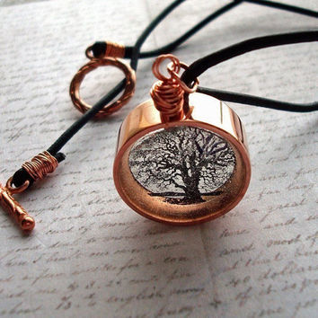 Copper resin necklacetree of life necklace twisted by underglass