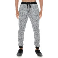 Silver Glitter Men's All Over Print Casual Jogger Pants