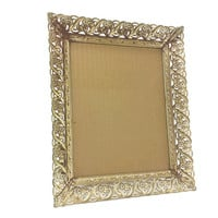 Vintage Rusted Gold White Washed 8x10 Metal Frame, Filigree Scroll, Patina, Rust, Flowers, Ornate Gold Frame, Gold Tone Frame, Shabby, Worn