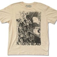 """W.A.S.T.E. Adult Radiohead """"Scribble on Natural"""" T-Shirt"""