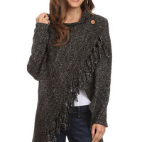 Fringed Shawl Sweater with Button - L & B - Charcoal