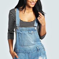 Connie Pocket Front Ripped Denim Dungaree Shorts