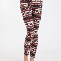 Red Snowflake Plaid Fleece Leggings