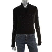 Sanctuary Womens Cable Knit Cowl Neck Pullover Sweater