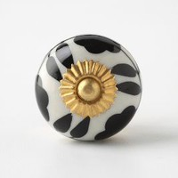 Silhouetted Zinnia Knob by Anthropologie in Black Size: One Size Knobs