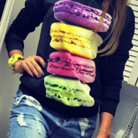 Playful Macaroon Print Long Sleeve Sweatshirt
