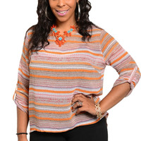 3/4 Sleeve Striped Cable Knit Top