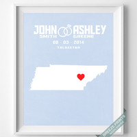 Personalized, Print, Tennessee, Wedding, Anniversary, Customized, Family, State, Groom, Bride, Wall Art, Home Decor, Marriage, Love [NO 41]