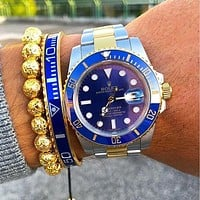 Rolex Blue New Fashion Watch Couple Models Stainless Steel Personality Watches