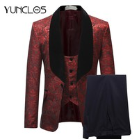 YUNCLOS  Burgundy Red Suit Men 2018 Slim Fit Shawl Collar Men Suits For Wedding Fashion Jacquard 3 Piece Prom Suits