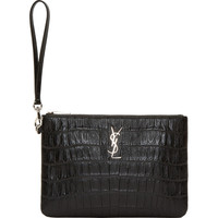 Black Croc Embossed Leather Monogramme Clutch