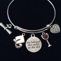 Graduation She Believed She Could So She Did Silver Expandable Charm Bracelet Adjustable Bangle Gift