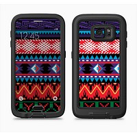 The Vector White-Blue-Red Aztec Pattern Full Body Samsung Galaxy S6 LifeProof Fre Case Skin Kit