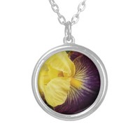Purple and Yellow Iris Floral Necklace