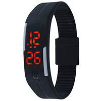 Candy Color Jelly TPU Strap LED Screen Casual Bracelet Wrist Watch Watches (Black) (Color: Black) = 1958153348