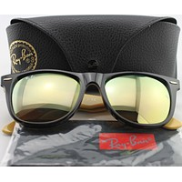 Cheap New Ray-Ban RB 2140 1173/93 Wayfarer Black/Olive Green/Yellow Frame Sunglasses outlet