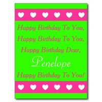 Pink and Green Happy Birthday Song Postcard