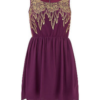 Koko Purple Lurex Lace Floral Panel Skater Dress