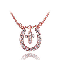 Pave Cross And Horseshoe Gold Necklace
