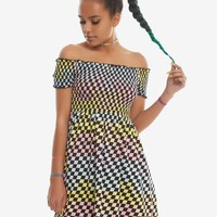 Rainbow Checkerboard Off-The-Shoulder Smocked Dress