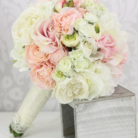 Silk Bride Bouquet Peony Flowers Pink Cream Spring Mix Shabby Chic Wedding Decor