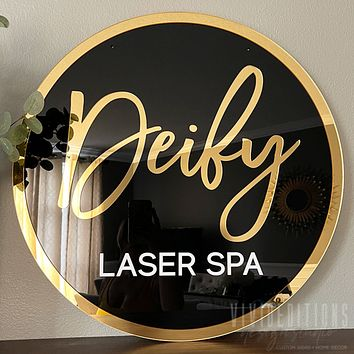 Round 3D Acrylic Business Sign w/ Mirror Border