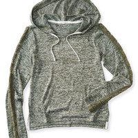 Lace Sleeve Knit Hoodie