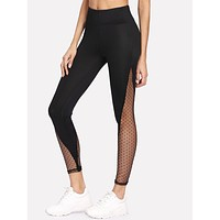 Mesh Contrast Side Leggings