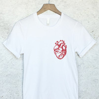 Anatomical Heart Shirt in Maroon Ink on White