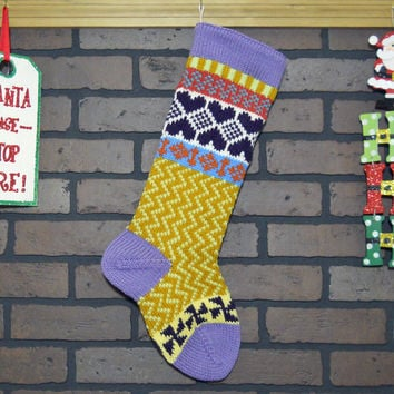 Colorful Hand Knit Christmas Stocking, Zigzag Design, Lavender Cuff with Purple Hearts and Pinwheels, Can be Personalized, Baby Gift Idea