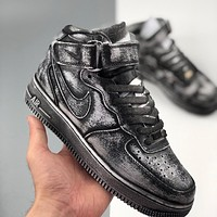 Nike Air Force 1 AF1 high-top canvas dark distressed washed and stained sports sneakers shoes