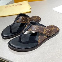 LV Louis Vuitton new product stitching color men's and women's casual sandals beach slippers flip-flops
