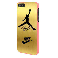 Nike Jordan Flight Jump In Gold Texture iPhone 5 Case Framed Pink