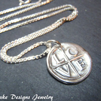 fine silver LOVE necklace recycled silver wax seal necklace
