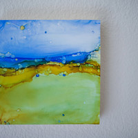 Alcohol Ink Painting - Abstract art - Alcohol Ink Art - Original Art -  OOAK - Landscape Inspired - Blue Skies - 8x8