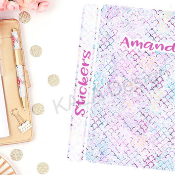 Customized Mermaid Kisses Sticker Binder Cover! Perfect For Erin Condren Life Planner, Happy Planner, Personal, Calendar!