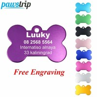 pawstrip 2pcs/lot Personalized Dog ID Tags Aluminium Customized Pet Tag For Dog Cats Engraved Dog Tag Bone Dog Collar Pendant