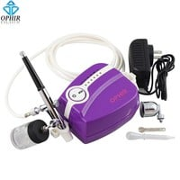 OPHIR Dual Action Airbrush Kit with Portable Mini Air Compressor for Model Hobby Body Painting Cake Decorating  #AC094W+AC005