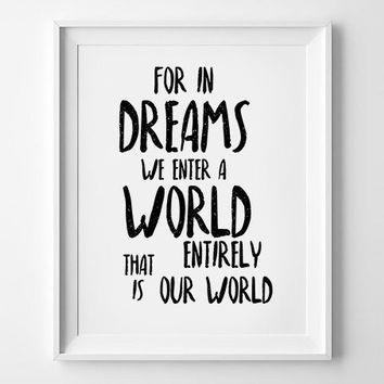 Typography print poster,Baby blue bedroom wall art,Baby boy nursery decoration,Harry Potter print Albus Dumbledore quote - For in dreams