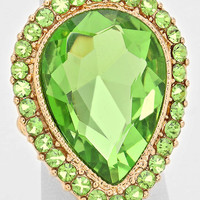 """"""" Tears Of Joy """" Teardrop Cutout Lime Green Crystal Rhinestone Pave Stretch Cocktail Ring On Gold Tone"""