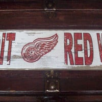 Detroit Red Wings Barnwood Sign 28x5
