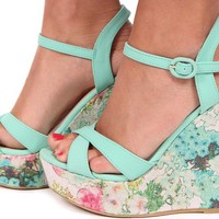 Mint Patterned Strappy Wedge