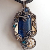 OOAK midnight blue steampunk fused glass wire wrapped by ukapala