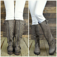 Easy Rider Taupe Studded Zipper Riding Boots