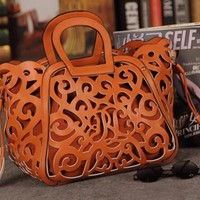 Leather Cut-Out Designer Tote Bag