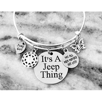It's a Jeep Thing Jeep Girl Jewelry Expandable Silver Charm Bracelet Adjustable One Size Fits All Not All Who Wander are Lost