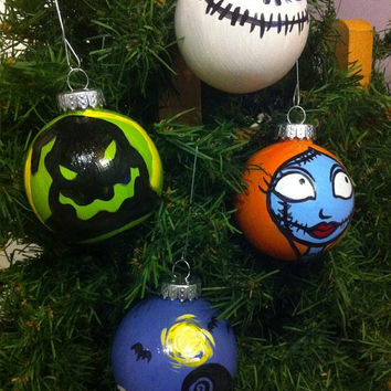 Hand-Painted Shatterproof Nightmare Before Christmas Ornament Set of 4