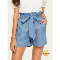 Papergirl Patched Denim Shorts