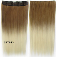 """Dip dye hairpieces New Fashion 24"""" Women Clip in on gradient wig Bath & Beauty Hair Ombre Hair Extensions Two Tone Straight hair Gradient Hair Extension Colorful Hairpieces GS-666 27T613,1PCS"""